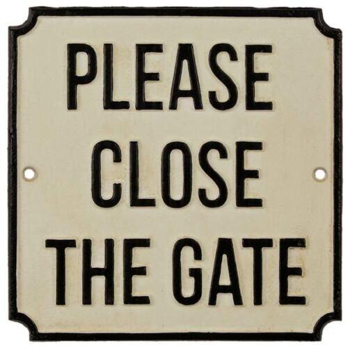 GUSSEISEN SCHILD für TOR WARNSCHILD /'PLEASE CLOSE THE GATE/' WAND HINWEIS TÜR