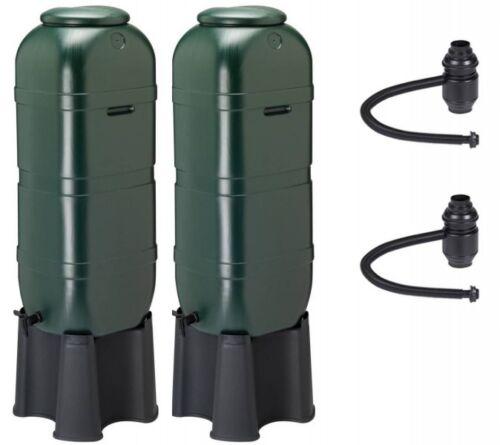 2 x Regentonne 100 Liter Wassertonne Regenfass mit Standfuß Füllautomat Hahn