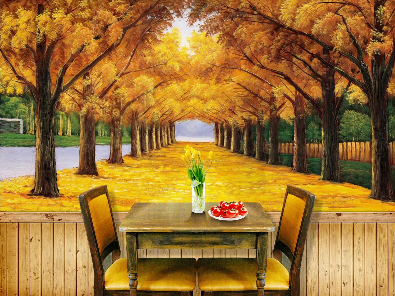 3D golden Autumn Polar Tree 21 Wall Paper Wall Print Decal Wall Deco Indoor Wall