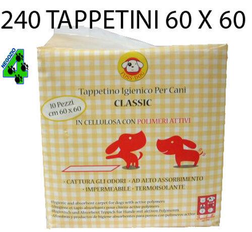 240 TAPPETINI ASSORBENTI per cane 60X60 CLASSIC pannolini cani cuccioli traverse