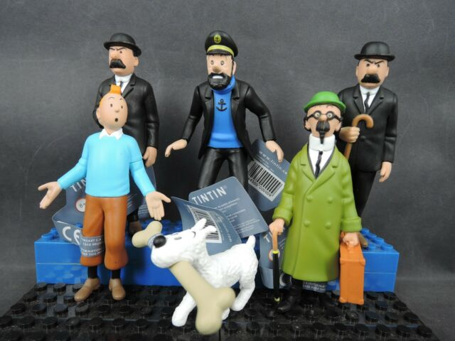 "6x Plastoy The Adventures of Tin Tin PROFESSOR Dupont Milou loose 3"" figure"