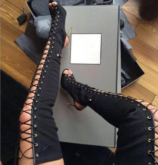 WOmen's High Heels Gladiator over Knee Thigh High Boots lace Up Open Toe shoes