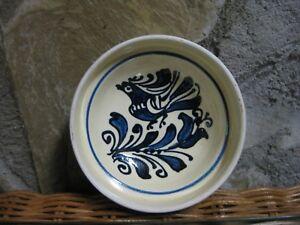 Terra-Cotta-Red-Ware-Cobalt-Blue-Folk-Art-Pottery-Bowl-Bird-Tulip-Decoration-HPd
