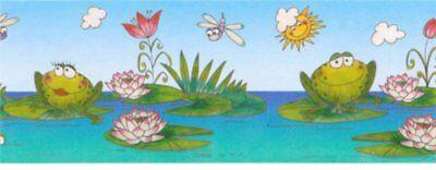 Brewster FROG WATER LILY Wallpaper Border 143B88905