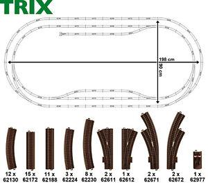 Trix-H0-C-Gleis-Oval-57-teilig-mit-7-Weichen-NEU