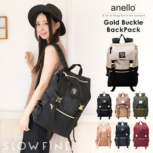 0844aa309c ANELLO Japan Gold Buckle Flap Handle Backpack Campus Rucksack Canvas ...