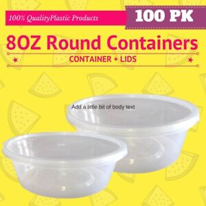 Round Plastic Sauce Container 8oz 250ml Takeaway Food 50 Containers+50 Lids Bulk