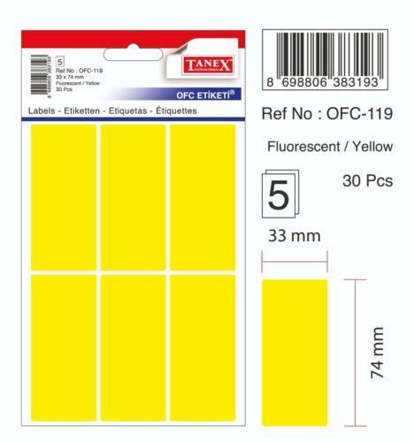 neon gelb 30 Etiketten TANEX OFC-119 Vielzweck Etiketten farbig 33 x 74 mm