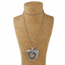 Abstract Long Chain Large Hammered Hearts Charms Pendant Lagenlook Necklace