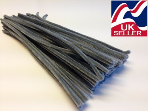6mmwide 10-1000 GREY chenille craft stems pipe cleaners 30cm long