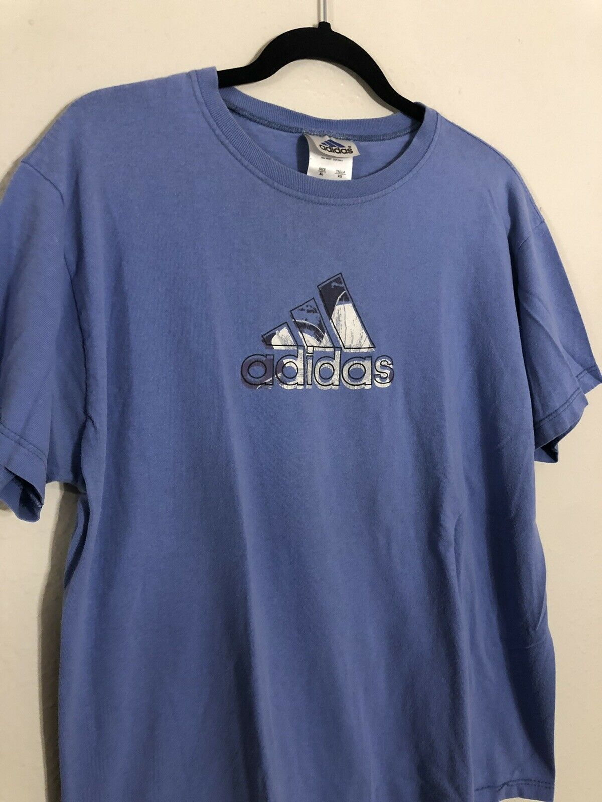 Vintage 1990s Adidas T-Shirt, Made In USA Blue Youth XL, Adult S