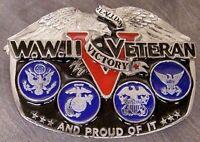 Military Belt Buckle metal World War II Veteran NEW