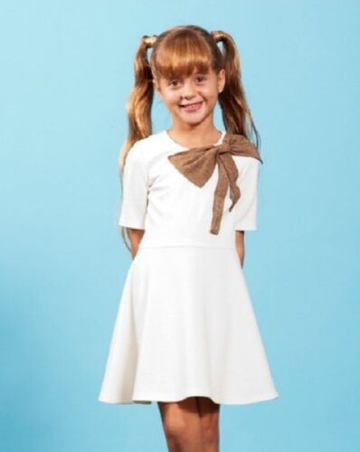 NWT MATOOKA couture Ivory Shoulder Bow Dress girl/'s 6y 8 10 12y D650 Made in USA