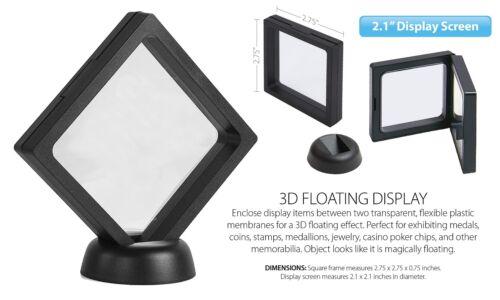 "2.1"" 3D Floating Coin Display Frame Holder Box Case Black w// Stand Set of 3"