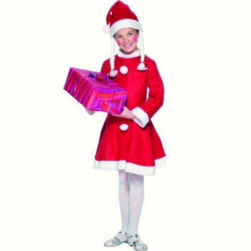 Childs Girls Miss Santa Christmas Xmas fancy dress costume Outfit 6 7 8 9 10 11