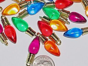 image is loading 10 lot christmas lights bulb charm beads craft