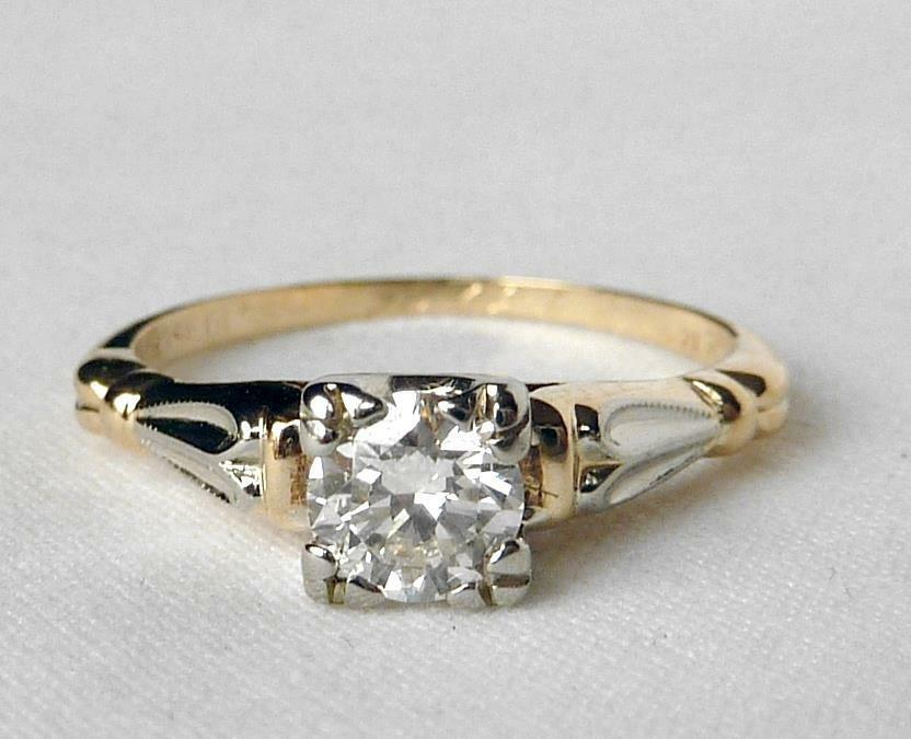 Vintage 14K gold pink BLOSSOM .44Ct Diamond Engagement Ring Inscribed+Dated 1945
