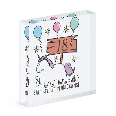 18th Compleanno Ancora Credere In Unicorni Acrilico Blocco Foto Cornice Funny Happy- Qualità Eccellente