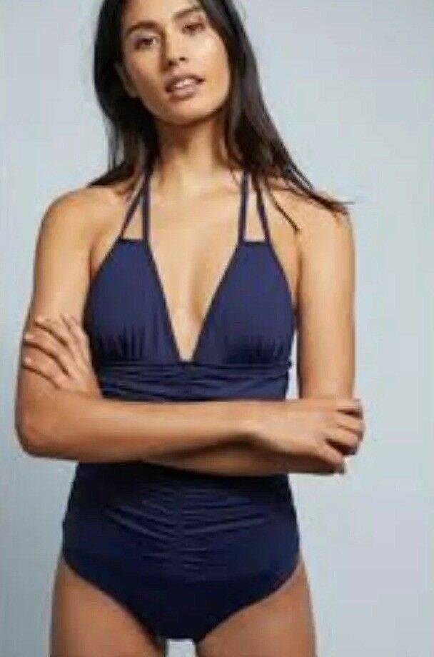 NEW LSpace Ruched Side One Piece Simsuit Size 4 Navy