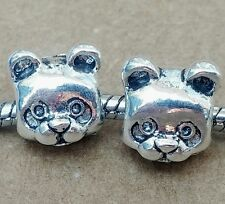 2PC Lot 3D Panda Bear Face Cartoon Animal Head Beads fit European Charm Bracelet