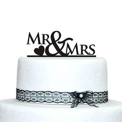 MR /& MRS Black Bridal Shower Wedding Cake Topper Heart Decoration Favor Sign