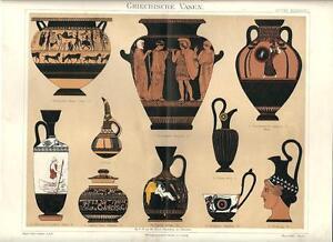 Stampa antica vasi anfore dell 39 antica grecia greece 1890 for Vasi antica grecia
