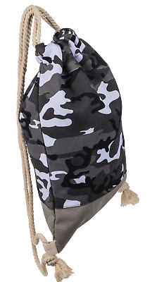 Camflouge Drawstring School Kid Sport PE Gym Dance Swimming Sack Pull String Bag