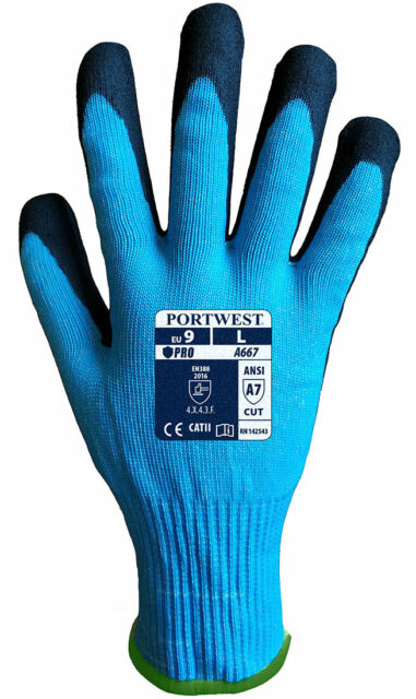 Portwest A667 Double Dipped Sandy Nitrile Coating Grip Claymore AHR Cut Glove
