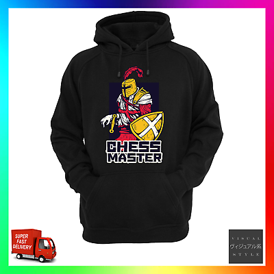 Aufstrebend Chess Master Hoodie Hoody Knight Board Game Gaming Retro Cool King Queen Pawn