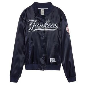 e26c8eaf0e NWT VICTORIA S SECRET PINK MLB NEW YORK YANKEES LARGE SATIN BOMBER ...