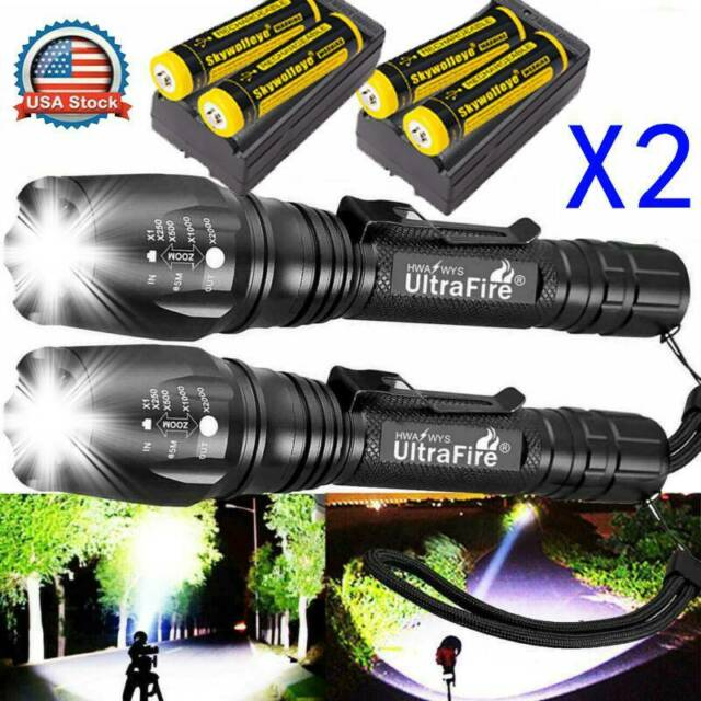 Aluminum 350000LM Ultrafire T6 LED tactical Flashlight Zoomable Torch Headlamp