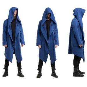 Mens Cloak Cape Coat Gothic Long Hooded Jacket Sweatshirts Cardigan Loose Parka