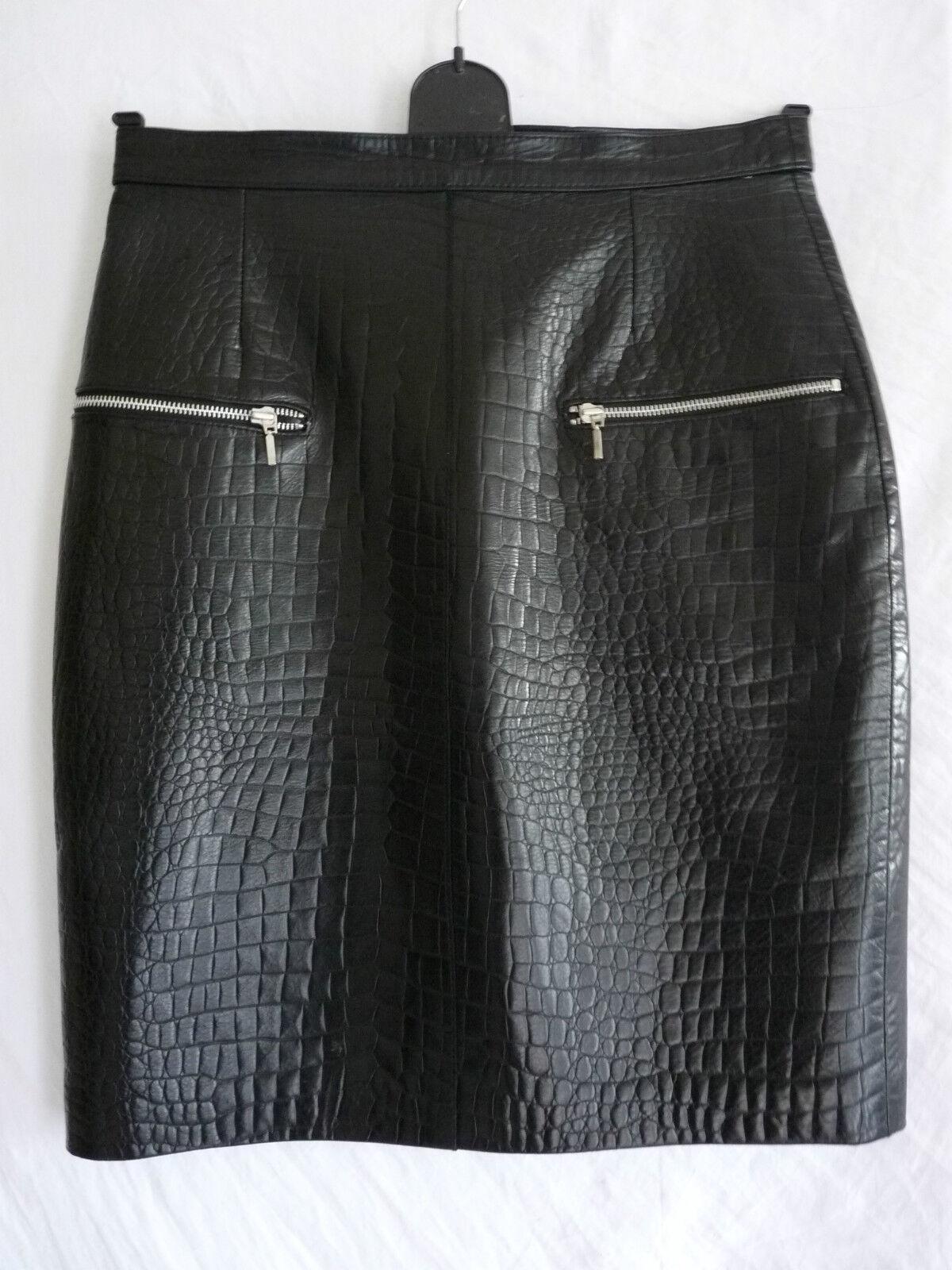 JUPE EN CUIR LA sacAGERIE CROCO NOIR CUIR AGNEAU T 42 DOUBLEE cuir jupe