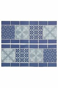 Image Is Loading Self Adhesive Tile Stickers Blue Silver White
