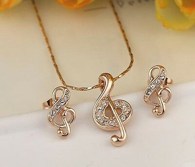 18K GP Rose Gold Crystal Musical Note Earring Pendant Necklaces
