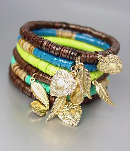 Urban Artisanal Turquoise Shell Wood Beads Gold Leaf Heart Charms Bracelet