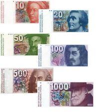 Switzerland 10,20,50,100,500,1000 Francs 6° Serie 1976 (Riproduzione/Copy)