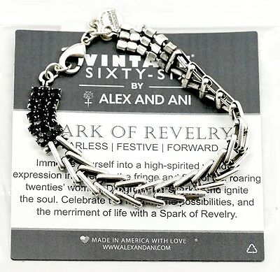 NEW Alex and Ani Vintage Sixty Six Spark of Revelry Flapper Bracelet Jet Silver