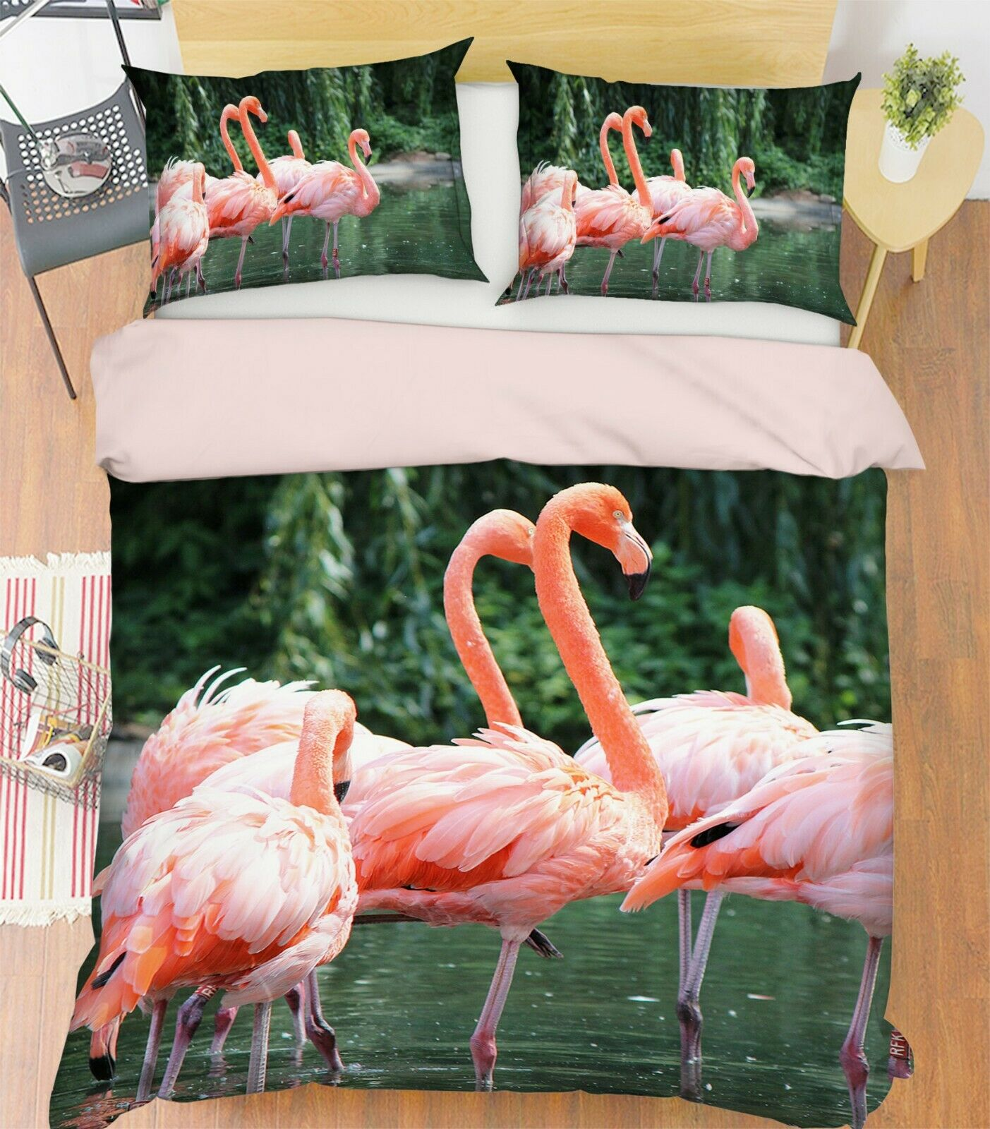 3D Flamingo River P02 Animal Bed Pillowcases Quilt Duvet Cover Set Queen Zoe