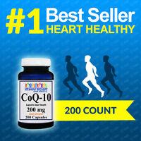 CoQ-10 200mg 200Caps Coq10 Co Q10 Coenzyme Anti Aging Cardiovascular Quality USA