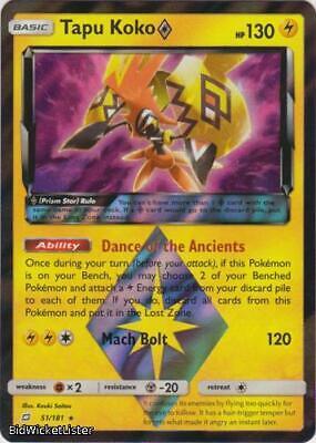 Pokemon Team Up 2x Tapu Koko Prism Star 51//181