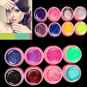 16-x-Mischung-Farben-Nagel-Kunst-Profi-Glitzer-Nail-Art-Tips-UV-Gel-Set-Bal-Z7E7