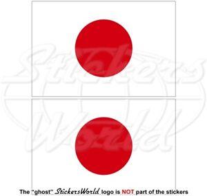 JAPAN-Japanese-Flag-HINOMARU-100mm-4-034-Vinyl-Bumper-Stickers-Decals-x2