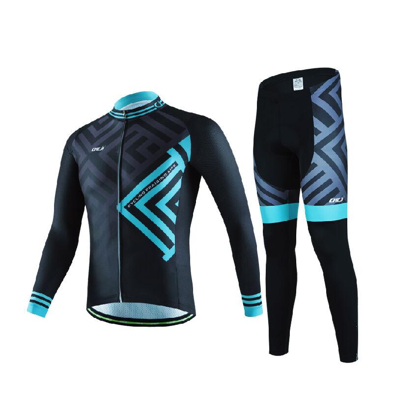 Cycling Jersey Suits for Men Pro Padded Bike Pants Full Zipper Biking Tops Kits
