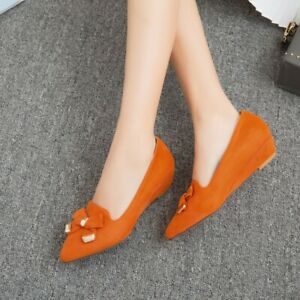 Mary-Jane-Women-Pumps-Shoes-Pointy-Toe-Slip-On-Bowknot-Wedge-Heels-Dance-Retro