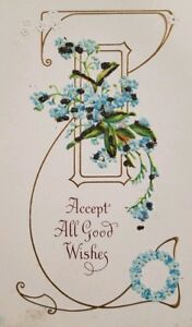 Vintage-Post-Card-Victorian-1900s-Embossed-Accept-All-Good-Wishes-Series-a2-317