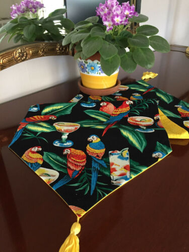 Happy Hour Tropical Colorful Macaw Parrots Cotton Table Runner by ThemeRunners