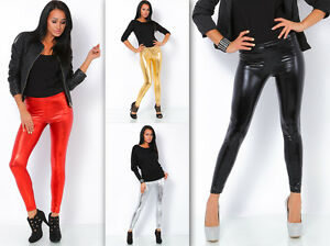 Shiny-Leather-Full-Length-Leggings-Latex-Wet-Look-All-Size-amp-Color-Variations