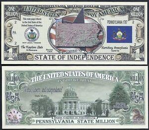 FLAG Lot of 25 Bills SEAL MINNESOTA STATE MILLION DOLLAR w MAP CAPITOL
