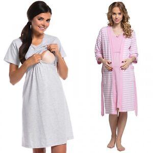 Zeta-Ville-Women-039-s-maternity-breastfeeding-stripes-set-robe-nightdress-190c